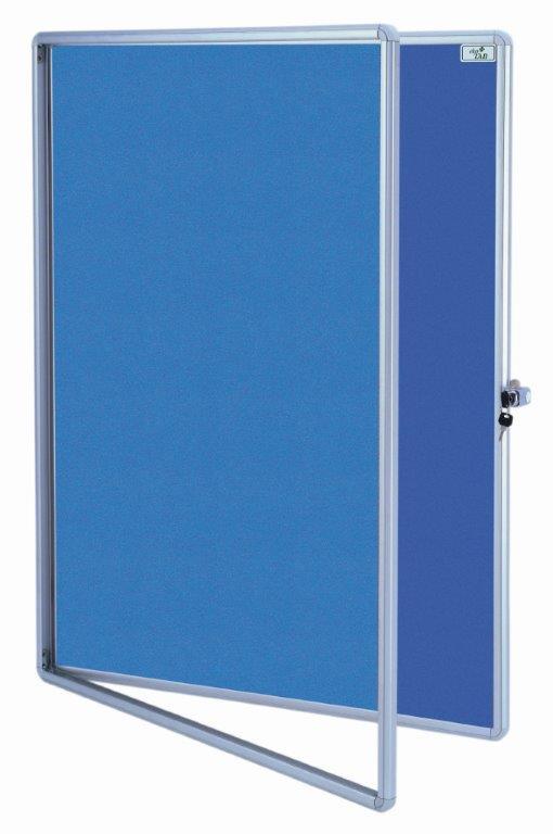 Vitrína - kovový rám + zámek - textil 100 x 75